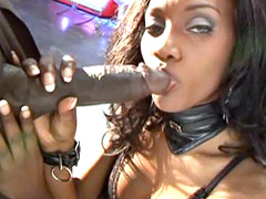 Sexy ebony babe in black stockings gets in her hairy pussy massive dick
