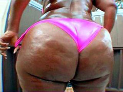 Pretty ebony chick with big black ass pussy drilled for cumshot