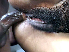 Hairy ebony babe sucking and riding strong cock for creampie