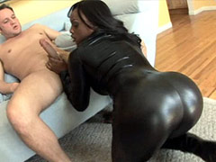 Sexy ebony babe fucking interracial by two white guys. Jada Fire video.