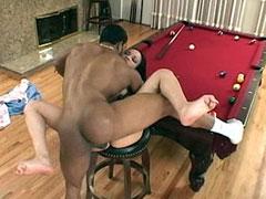 Ebony babe having wild sex on a billiard table