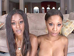 Ebony lesbians anal fucked in interracial group sex