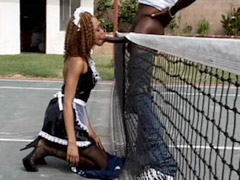 Ebony servant gives blowjob to long black monster cock