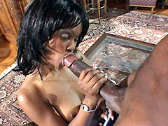 Cute black slut blow and gets her tight pussy hot fucked