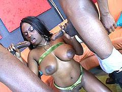 This ebony babe with big tits and big black nipples loves big cocks