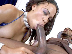 Curly haired perfect ebony babe gets her tight ass fucked hard
