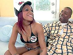 Cheery ebony chick sucking black dick and gets facial cumshot