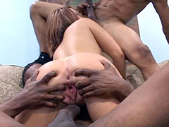Amateur horny babe takes black cocks and facial cumshot