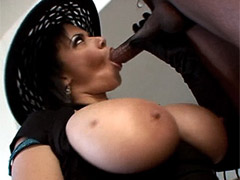 Busty ebony whore anal fucking on a billiard table