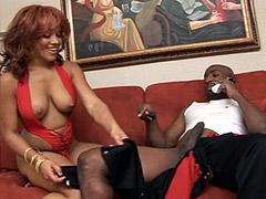 Black monster cock fucking ebony babe on sofa for orgasm
