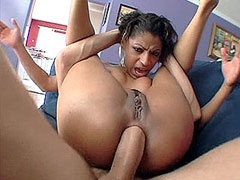 Horny ethnic babe with round ass hard anal drilled by white cock