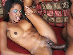 Nice for sex ebony babe Dena gets her sweet pussy creampied