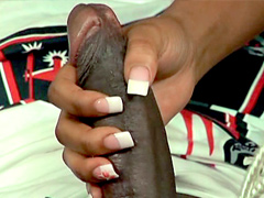 Ms Juicy doing big black dong and gets facial shots