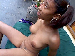 Sexy ebony teen flower pussy nailed outdoor