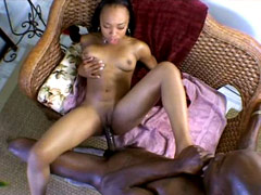 Horny ebony Jade Jaguar pussy banged by 12 inch fat black rod