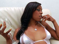 Busty ebony models Porsche Carrera and Angel Cummings sucks big dick
