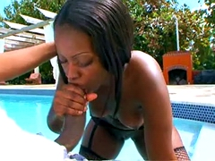 Sexy ebony Chanel Staxxx gets her rounded ass fucked near a pool