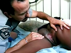 Natural tits ebony gets her pussy licked from white policeman