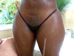 Two curvy black chicks Zena and Chanel Staxxx tits shared big white cock in bathroom
