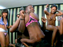 Young black babes, strong guys and dance, watch this hot groupsex black scene