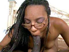 Big ass ebony moms in glasses suck cock before hardcore sex