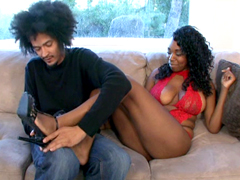 Big boos ebony Godiva Sweets screwed by hairy dude