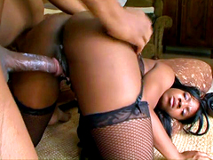 Perky ebony girl in stockings drilled in black wet snatch