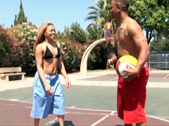 Blonde ebony girl Dior Millian riding cock after a game of basketball