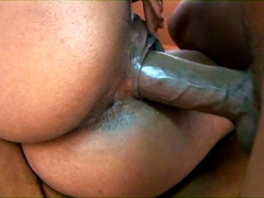 Curvy ebony girl Tatiana gets her sweet pussy stuffed by very huge dick