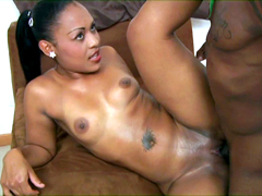 Cute ebony girl Tatiana rides huge rod and he it completely immersed in her black twat