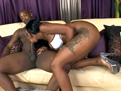 Big booty ebony Erika Vution doing nice blowjob before hot fucking