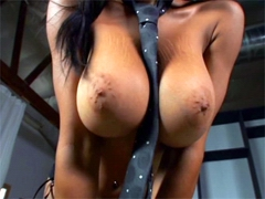 Big boobs ebony babe Tyra Moore jumping on huge black dick