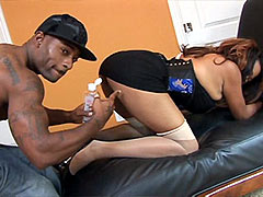 Big boobs ebony honey gives blowjob to big dick and penetrated