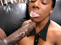 Black babe gets creamy facial after good with big cock sex