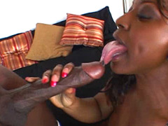 Ebony whore riding hard 14 inch black stick and getting cum