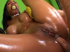 Ebony babe gets very wild interracial big cock anal sex