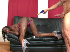 Ebony gal sucking big cock and wild anal interracial sex