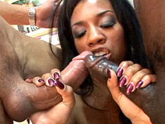 Ebony bitch sucking black and white cocks and getting fucked in groupsex