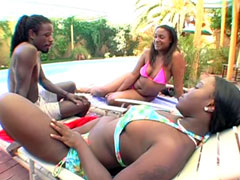 Ebony lesbians gets hard bang in asses and creampie on booty