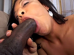 Huge black cock bang hairy pussy ebony babe and pissing