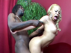 Petite ebony chick gets cum on tity after good big cock sex, Melrose Foxxx and Byron Long