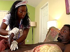 Ebony nurse hard banged by long big black cock on bed