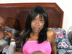 Sexy black african teen sucks ebony cock and fucks hard