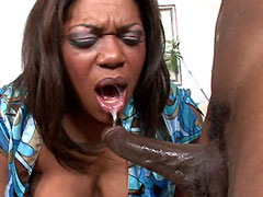 Busty ebony babe bunged by big black African cock on bed