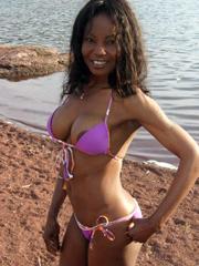 Beautiful ebony GF on a beach