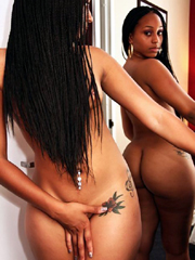 Front the mirror, black girls poses nude
