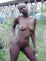 Nude afro sluts flashing their black slits