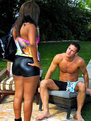 Watch hot ass sling shot bikini babe get fucked hard in these secluded public fucking pics