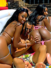 Watch 2 smoking hot ass brown skin babes share a hard cock by the pool in these hot wet fucking..