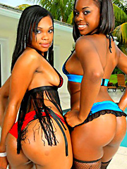 Amzazing ebony babes jewel and her hot juicy girl get double bandged by the pool in these hot sexy..
